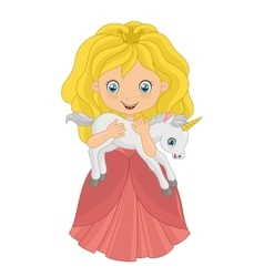 Little princess with baby unicorn vector image