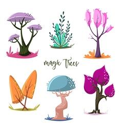 magic trees set cartoon elements vector image vector image
