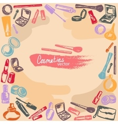 makeup kit freehand drawing background vector image