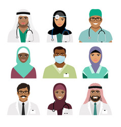 Medical practitioner and nurse face icons vector