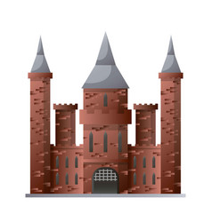 Medieval castle with high towers made of brown vector