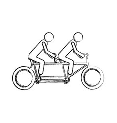Monochrome sketch pictogram of men in tandem vector