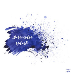 navy blue indigo watercolor splash texture vector image