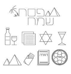 Passover line icons set vector image vector image