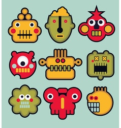 Robot Faces vector image