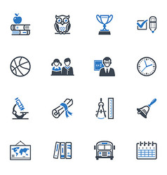 School and education icons set 3 - blue series vector