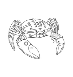 Steampunk style crab coloring book vector