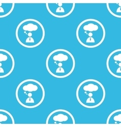Thinking person sign blue pattern vector