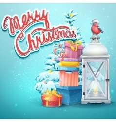 with Christmas tree gifts vector image vector image