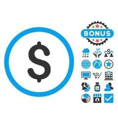 Dollar flat icon with bonus vector