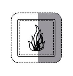 contour emblem sticker fire icon vector image