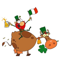 Lucky leprechaun sitting on a cow with beer vector