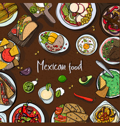 Square background with mexican food traditional vector