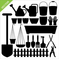 Tool garden silhouettes vector