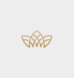 Crown flower lotus logo premium house spa vector