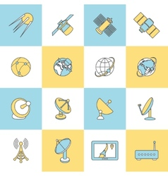 Satellite flat line icons vector