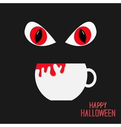 Evil red eyesand cup with blood halloween vector