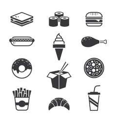 Black fast food icons vector