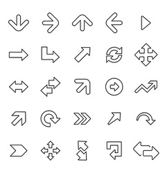 25 outline universal arrows icons vector