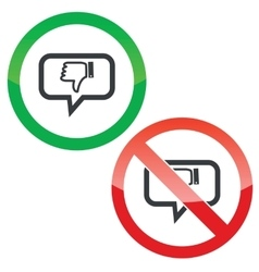 Dislike message permission signs vector