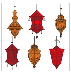 Set of ornamental ethnic lanterns in two colors vector