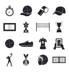 Volleyball icons set cup silhouette playing vector