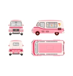 Pink ice cream car vector