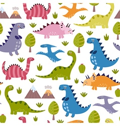 Cute dinosaurs seamless pattern vector