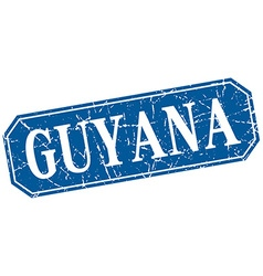 Guyana blue square grunge retro style sign vector