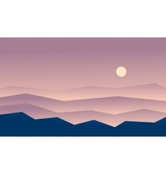 Beautiful landscape hills at sunset vector