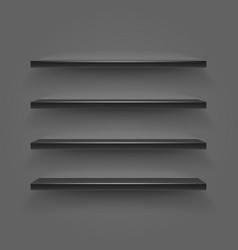 black empty shelves on dark wall vector image vector image