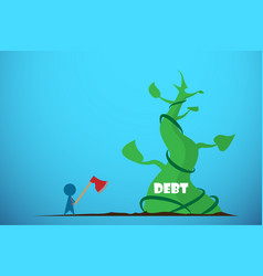 businessman holding axe to cut giant beanstalk vector image