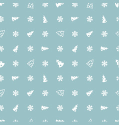 christmas trees and snowflakes blue pattern vector image