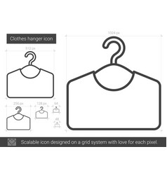 Clothes hanger line icon vector