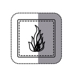 contour emblem sticker fire icon vector image