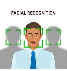 Facial recognition concept man in crowd vector