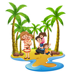 family trip to the beach vector image vector image