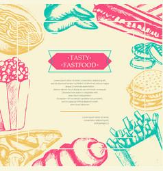 Fast food - color hand drawn vintage postcard vector