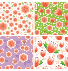 flower pink pattern set vector image vector image