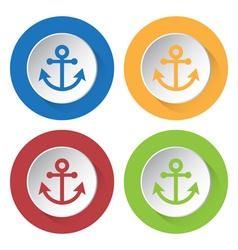 Four round color icons anchor vector
