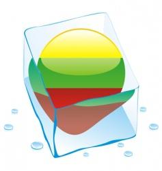 frozen button flag of lithuania vector image vector image