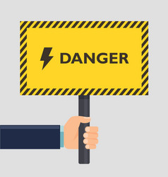 hand holding yellow stop danger sign flat style vector image vector image