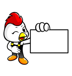 Happy cock character to give us a business card vector