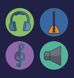 Headphone and music related icons vector