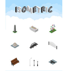 Isometric architecture set of plants expressway vector