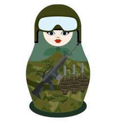 Matryoshka with rifle M-16 vector image