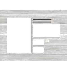 Mock-up business stationery template on wood vector image vector image