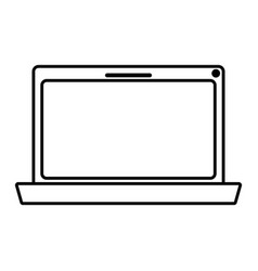 Monochrome silhouette of laptop computer vector