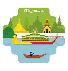 myanmar travel and attraction landmarks vector image vector image