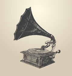 Phonograph - vintage engraved retro vector image